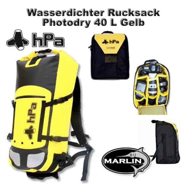 Wasserdichter Rucksack Photodry 40 L Gelb